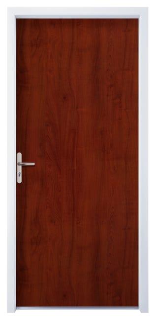 Porte Appartement Acier Avec Placage Bois H 205 X L 90 Cm Acajou P Gauche Leroy Merlin