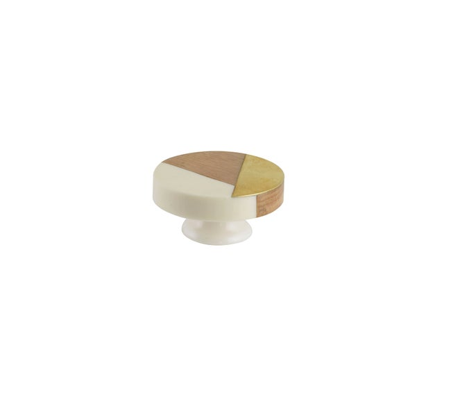 Bouton De Meuble Blanc Bois H36 X L36 X P20 Mm