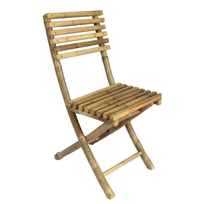 Chaise De Jardin Pliante Taman Bois Clair Bambou L 55 X P 45 X H 95 Cm Leroy Merlin