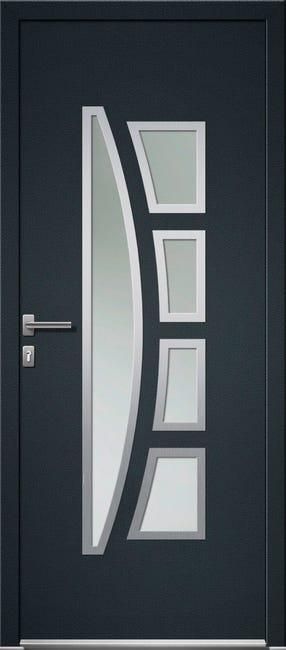 Porte D Entree Pvc Riwa Premium H 215 X L 90 Cm Vitree Gris Anthr P Gauche Leroy Merlin