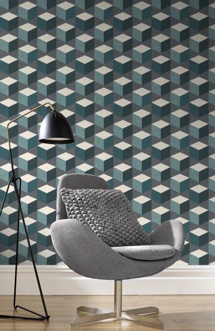 Papier Peint Vinyle Sur Intisse Motif Cubes Hexagone Multicolore Leroy Merlin