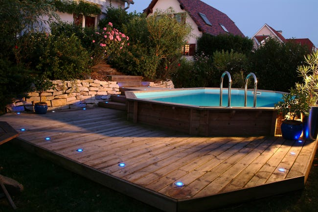 Piscine hors-sol bois Sunwater 100x100 h100cm beige UBBINK, L.100.100 x l.100 x  H.10.10