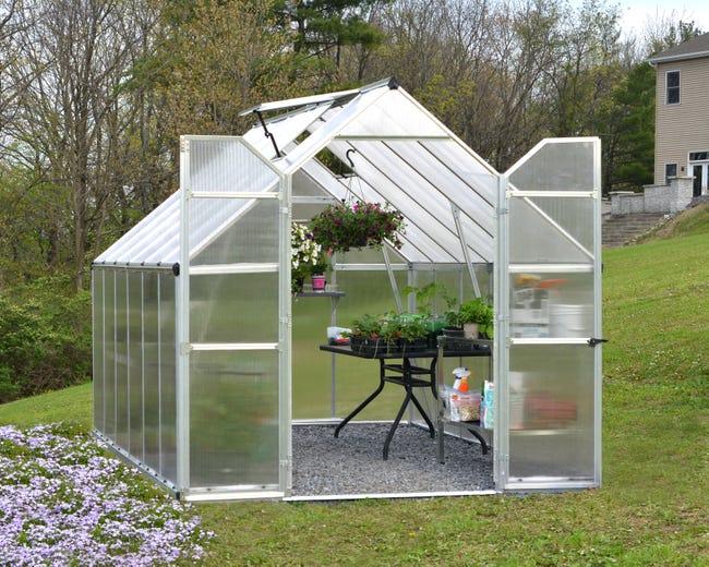 Serre De Jardin Essence 8 9 M Aluminium Et Polycarbonate Double Parois Palram Leroy Merlin