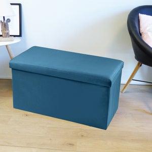 Image : Pouf d'intérieur bleu Pliable oxford uni, 76 x 38