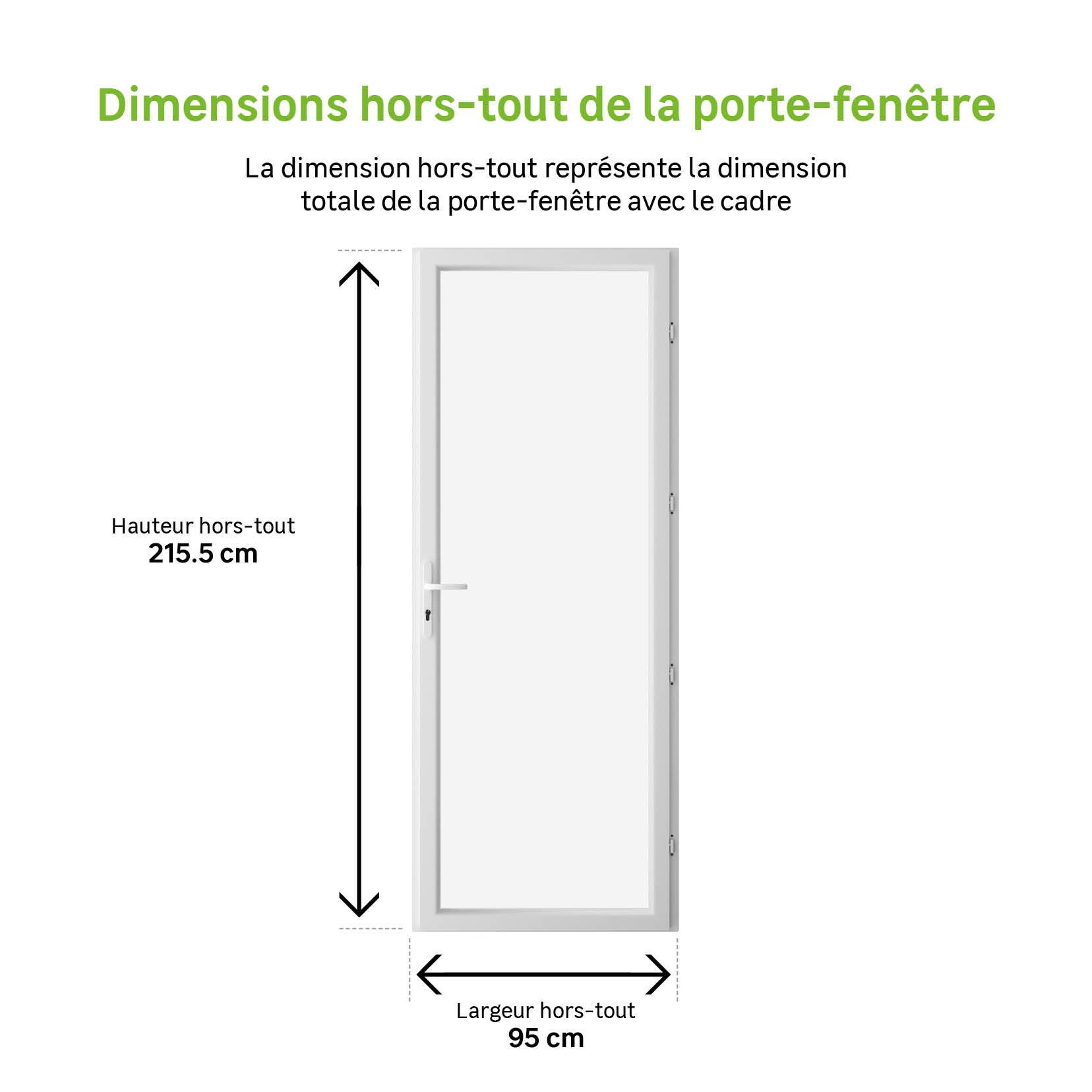 Porte Fenetre Pvc H 215 X L 90 Cm Blanc Blanc 1 Vantail Tirant Droit Leroy Merlin