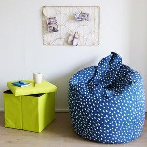 Image : Pouf bleu Poire imprimé, 75 x 75 cm