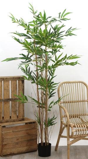 Bambou artificiel - 3 troncs naturels et 480 feuilles - H180cm - pot noir