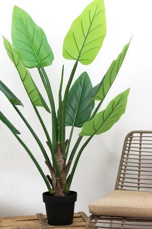 Plante Alocasia artificielle - 9 feuilles - H.125cm - pot noir