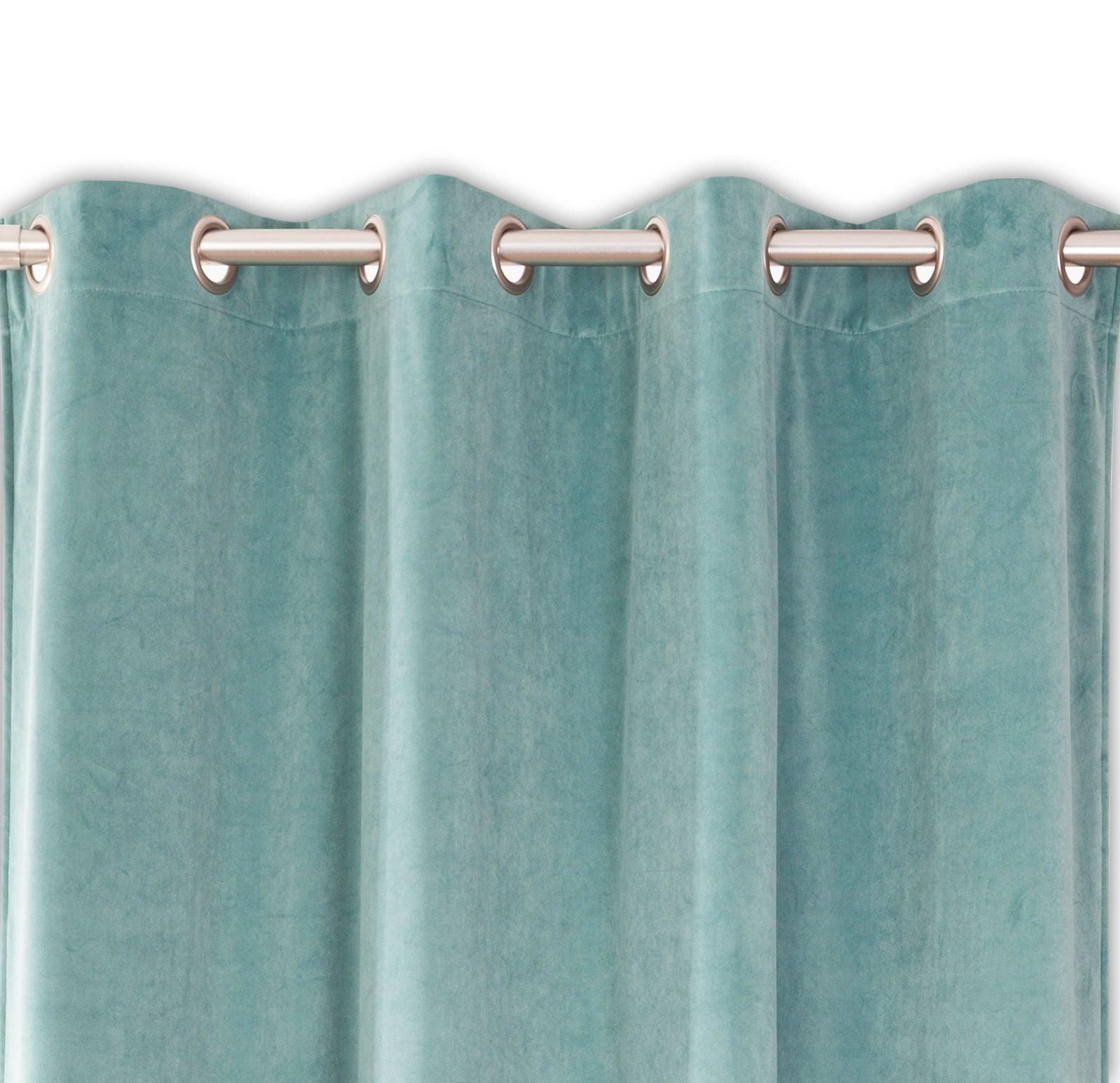 rideau tamisant velours velours bleu celadon l 140 x h 260 cm