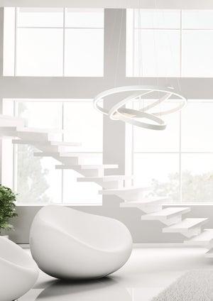 Image : Suspension, design métal blanc led intégrée BRILLIANT Anilo D.120 cm