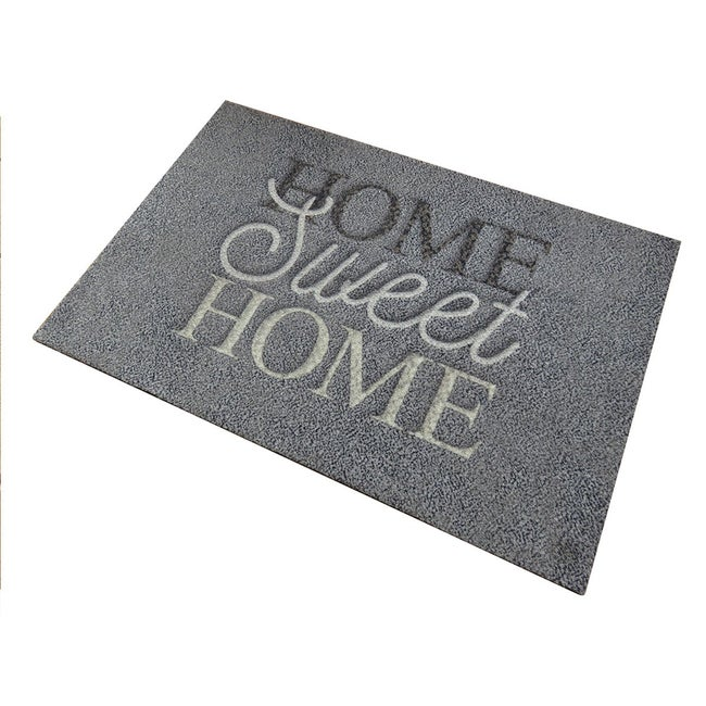 Tapis D Entree Sweet Home L 50 X L 80 Cm Anthracite Leroy Merlin