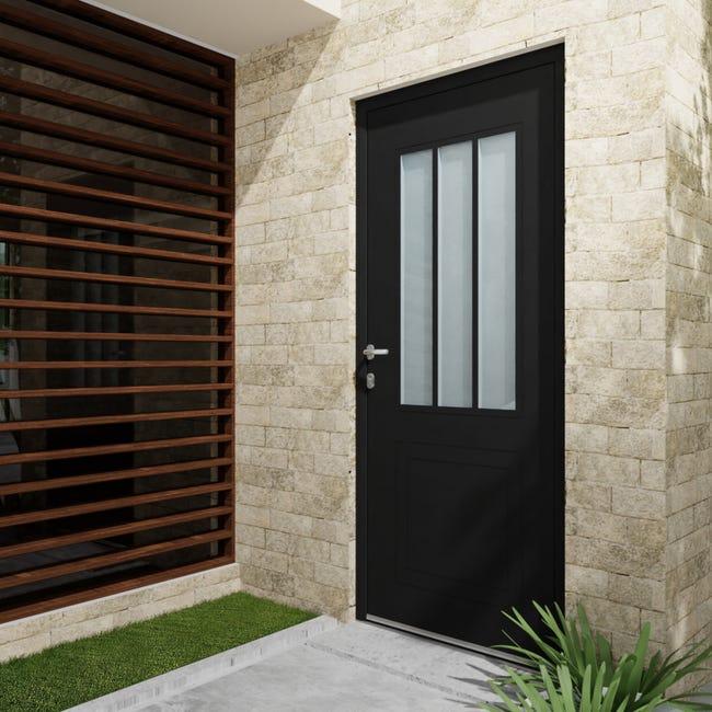 Porte D Entree Alu Atelier Essentiel H 215 X L 90 Cm Vitree Noir Poussant Droit Leroy Merlin