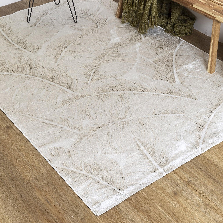 tapis gris clair rectangulaire l 120 x l 170 cm viscose leaf leroy merlin