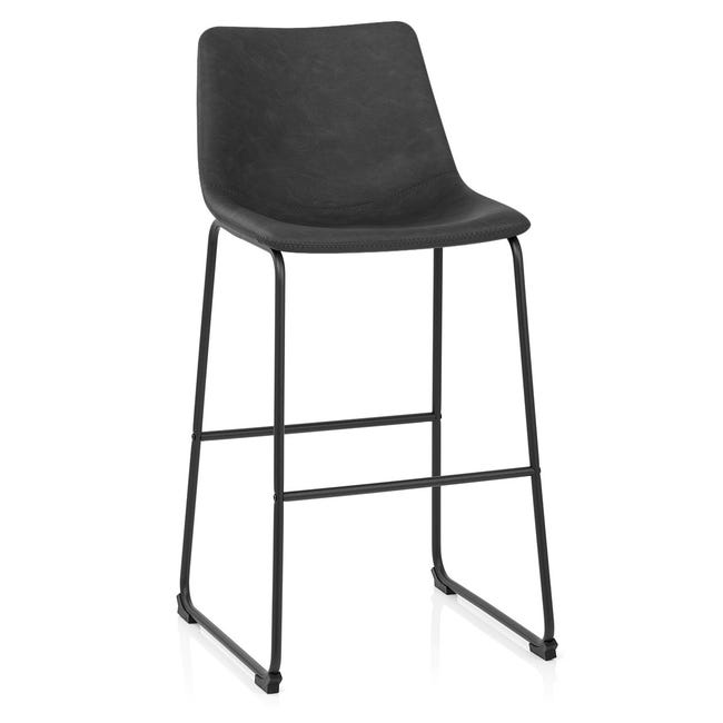 Chaise De Bar Industriel Simili Cuir Noir Bucket Antique Leroy Merlin
