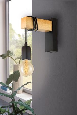 Image : Applique, industriel métal noir EGLO Townshend 1 lumière(s)