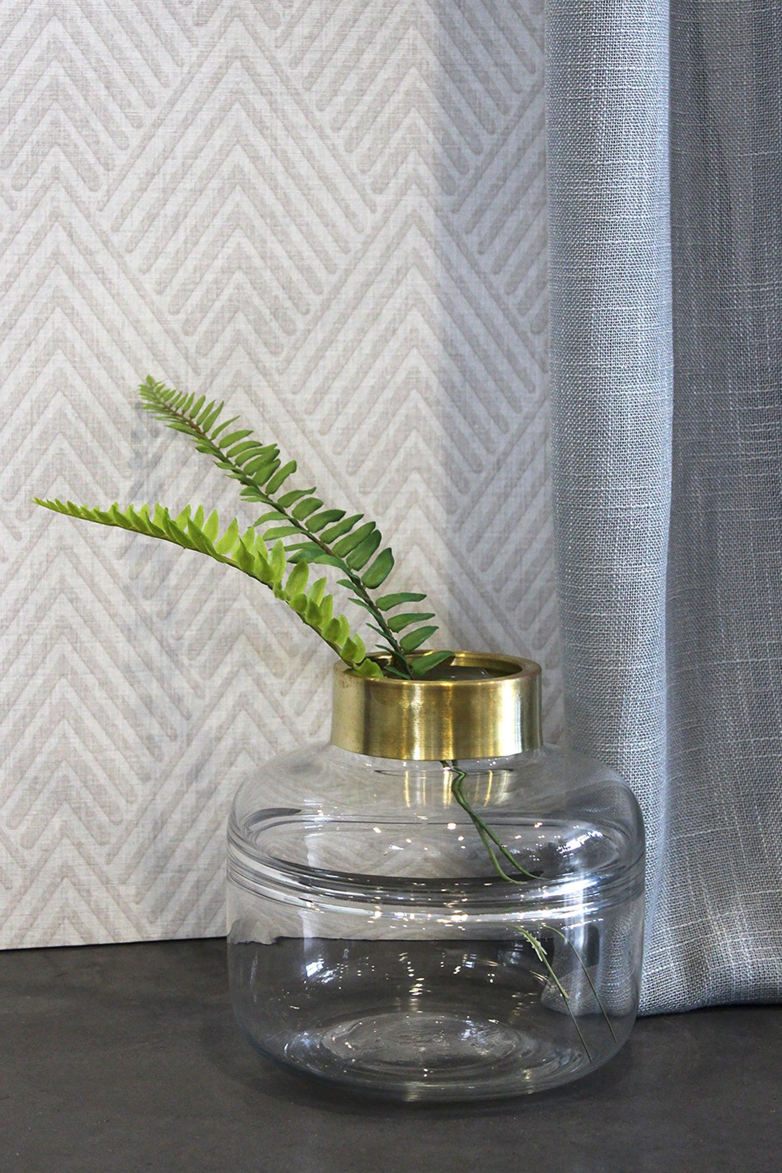 Vase décoratif verre Nikky, transparent et doré l.18 x H.16 cm