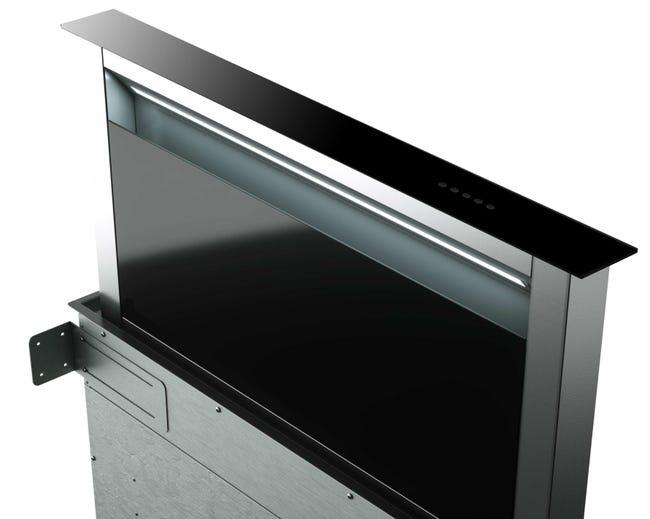 Hotte plan de travail L90 cm KA5010 en verre noir / inox   Leroy Merlin