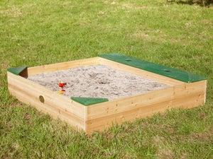 Bac à sable bois Amy +range AXI, beige, L.115 x l.115 cm