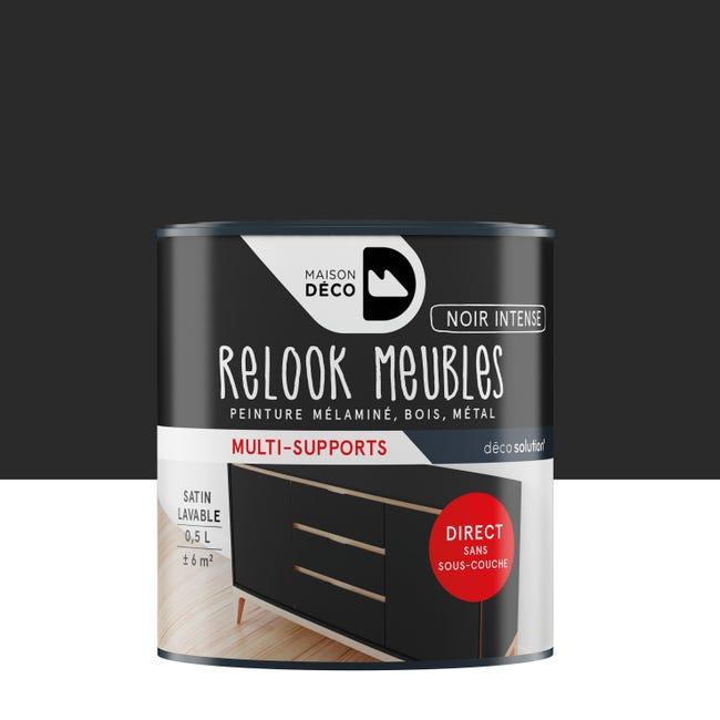 Peinture Pour Meuble Relook Maison Deco Noir Satine 0 5 L Leroy Merlin