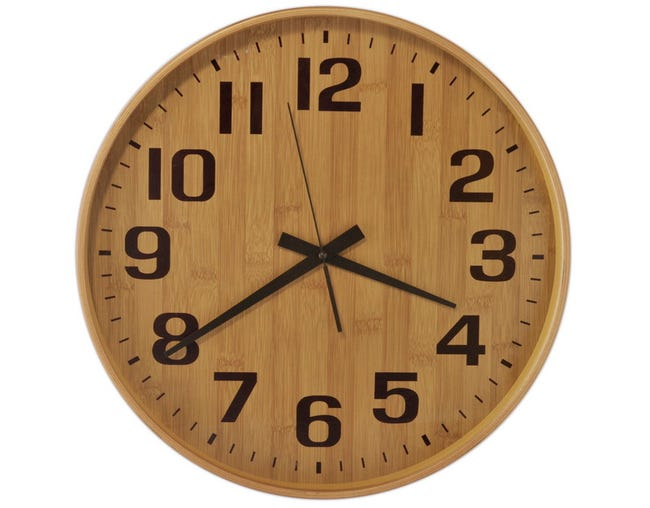 Horloge Bois Verre Fond Bois Clair Beige Diam 40 Cm Leroy Merlin