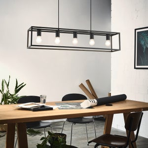 Image : Suspension, vintage, métal, noir, EGLO, Eldrick 5 lumières