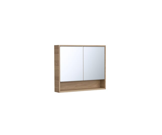 Armoire De Rangement Miroir L 90 Cm Chene Naturel Sensea Natural Leroy Merlin