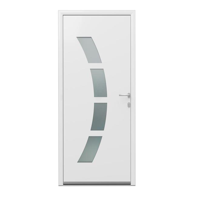 Porte D Entree Alu Toledo 2 Essentiel H 215 X L 90 Cm Vitree Blanc Pous Gauche Leroy Merlin