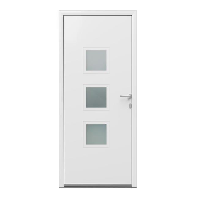 Porte D Entree Alu Phenix 2 Essentiel H 215 X L 90 Cm Vitree Blanc Pous Gauche Leroy Merlin