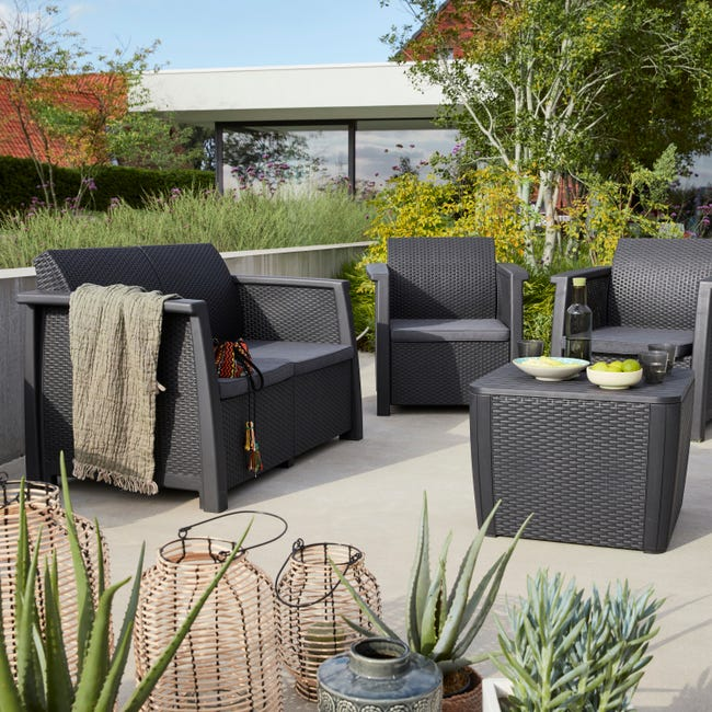 Salon Bas De Jardin New Kansas Polypropylene Graphite 4 Personnes