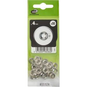 Lot de 50 rondelles acier nickelé, Diam.4 mm STANDERS