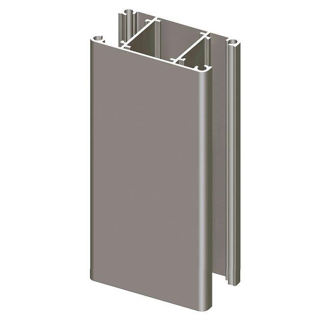 Poteau aluminium pour clôture Klos-Up ! gris quartz, l.7.5 x P.4.2 x H.230 cm   Leroy Merlin