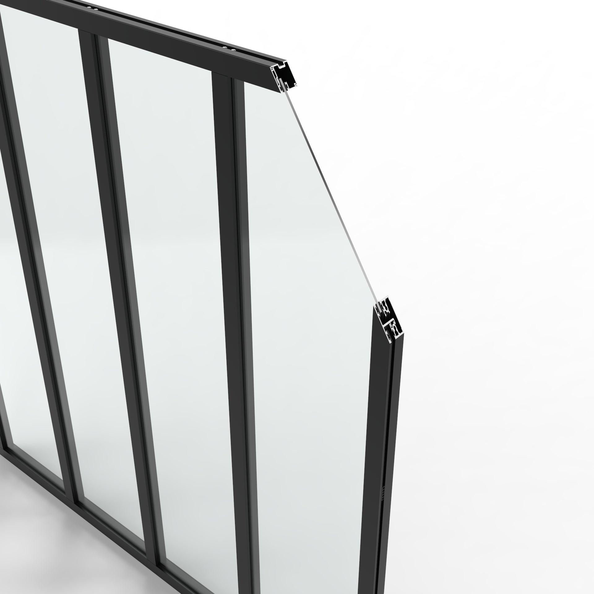 Verrière Atelier noir mat 4 vitrages transparents inclus, H.1.30 x l.1.23 m - 4