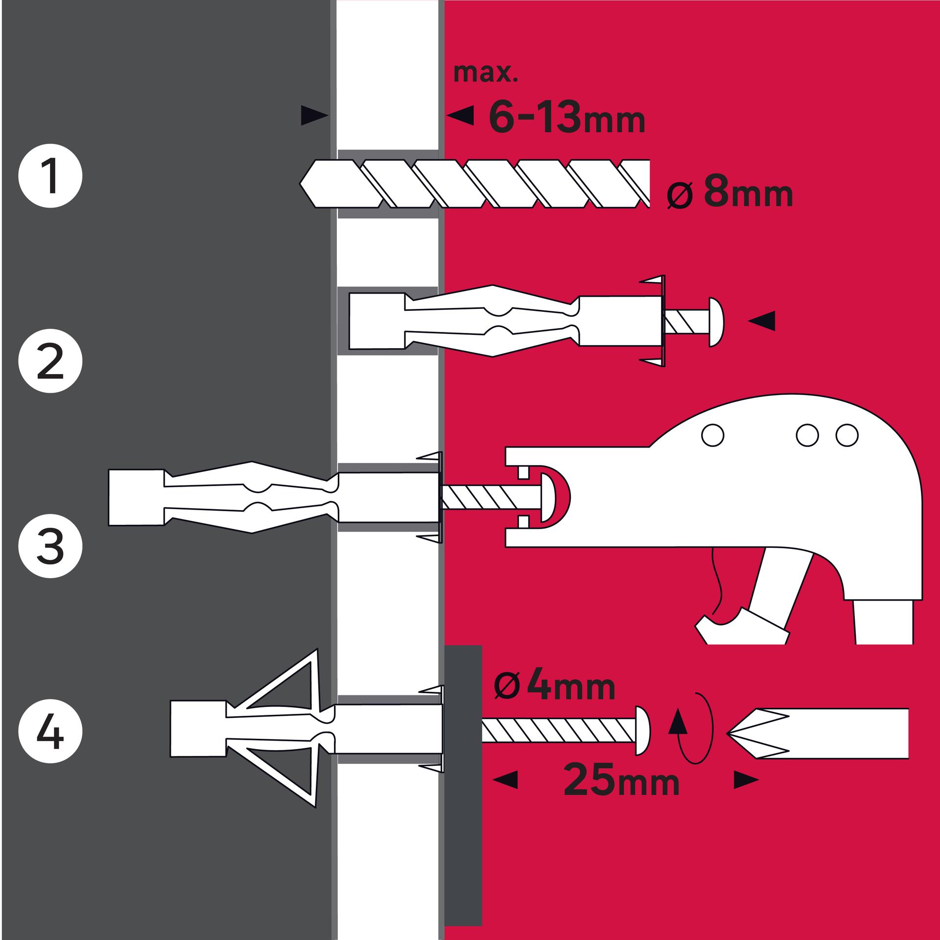 10 chevilles à expansion STANDERS, Diam.8 x L.16 mm