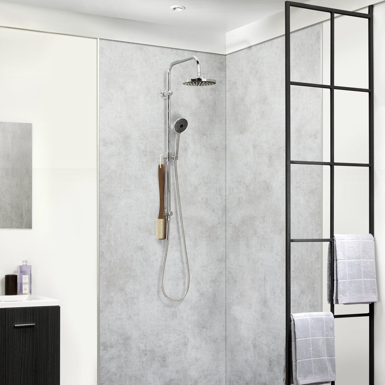 Panneau douche PVC Dumawall XL gris Chicago DUMAPLAST, L.16 x l.16 cm,  Ep.16 mm
