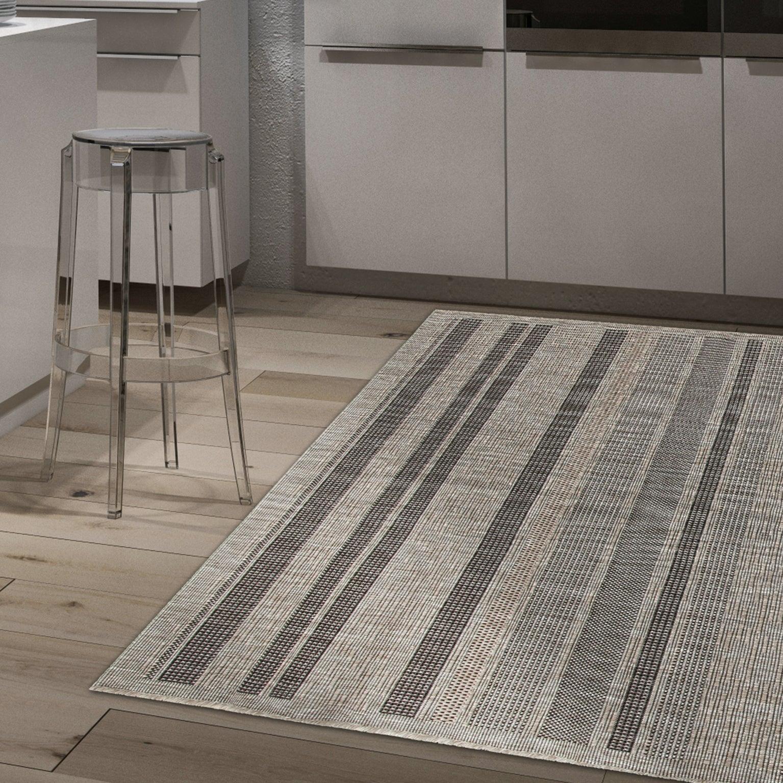 tapis exterieur gris rectangulaire l 133 x l 190 cm veranda stripes