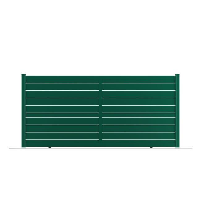 portail coulissant aluminium bono vert naterial l362 x h