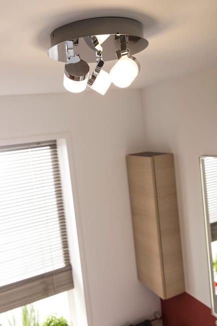 Plafonnier 3 Spots Led Integree Design Metal Chrome Brillant Inspire Coos Leroy Merlin