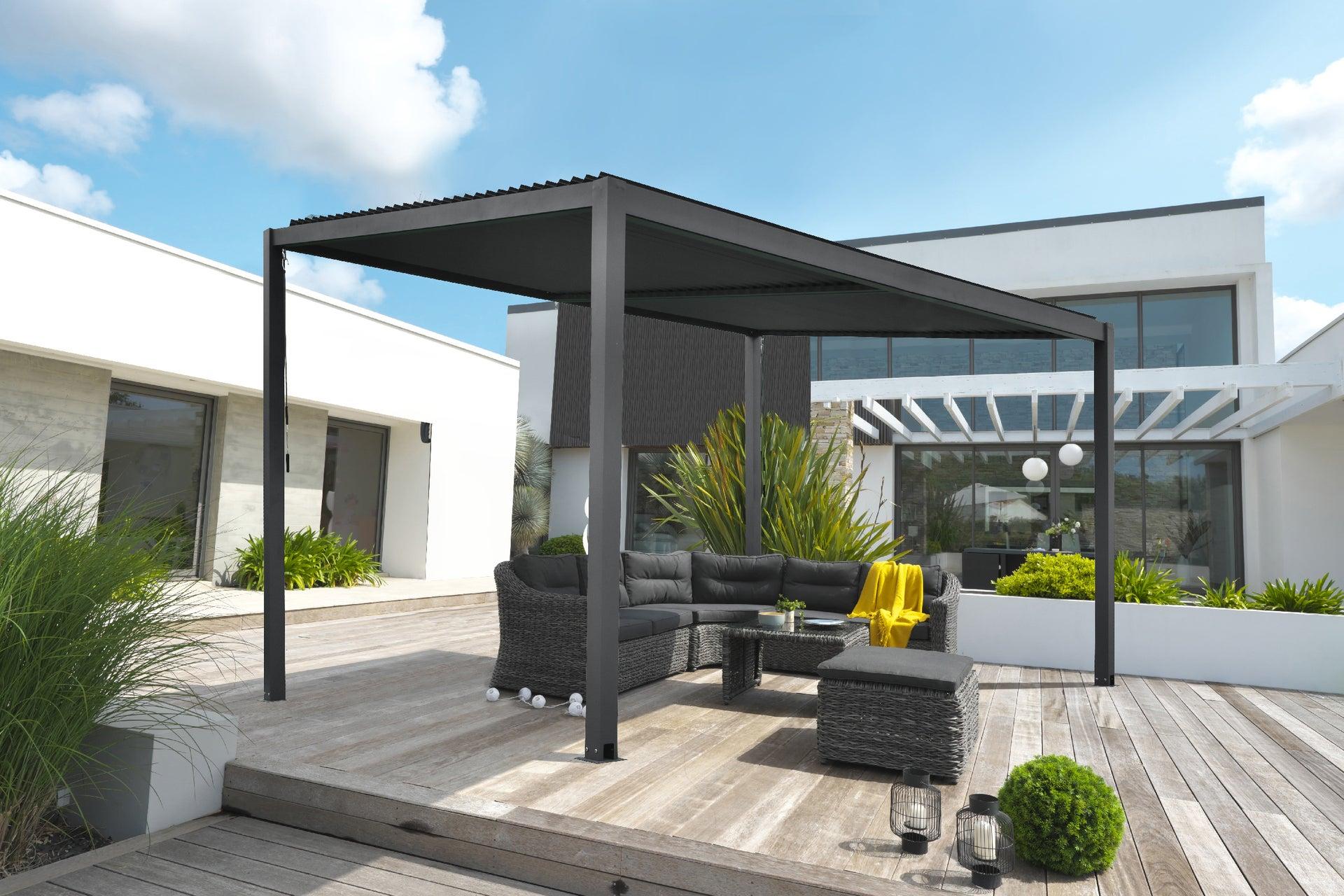 pergola autoportante tramonto aluminium noire 124 m²