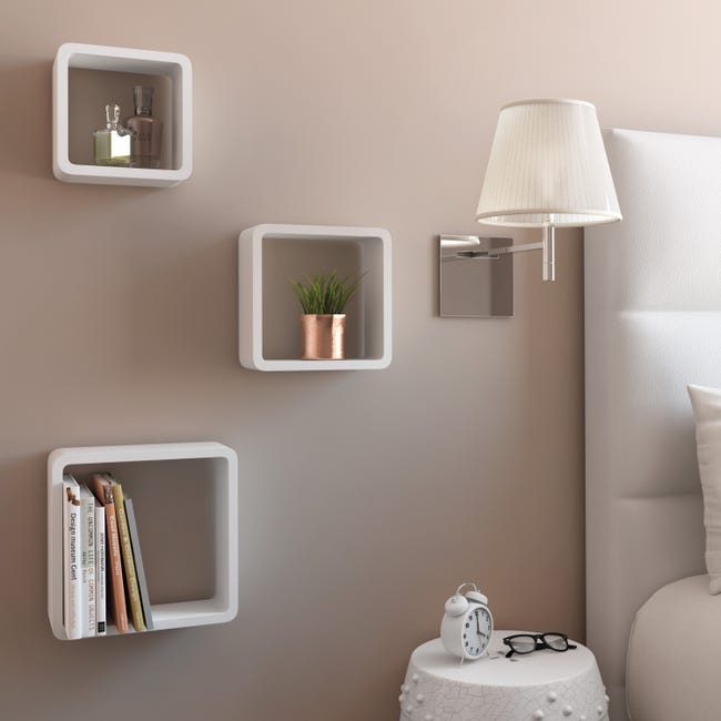 Etagere 3 Cubes Blanc Spaceo L 28 X P 10 Cm Ep 15 0 Mm Leroy Merlin