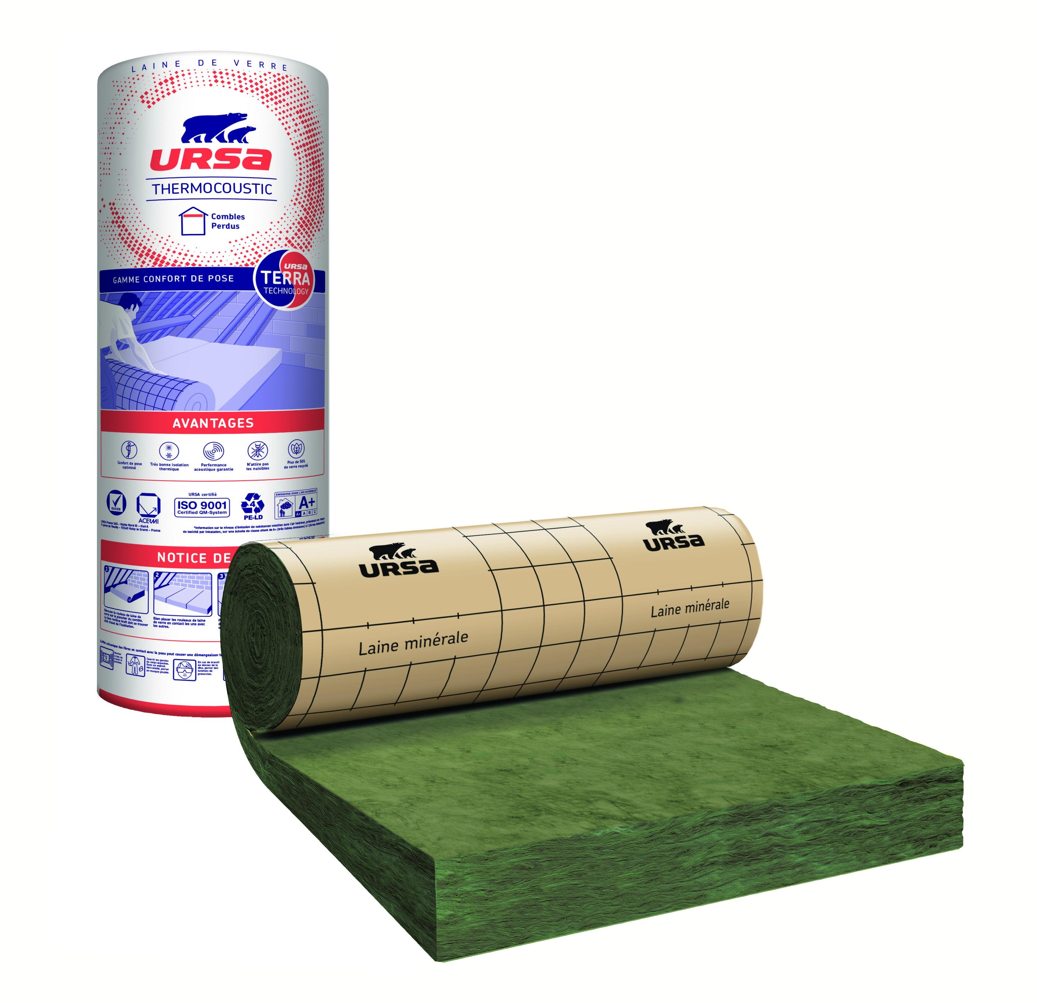 Rouleau laine de verre Thermocoustic 40 kraft URSA 2.80x1.2m Ep.280mm R=7