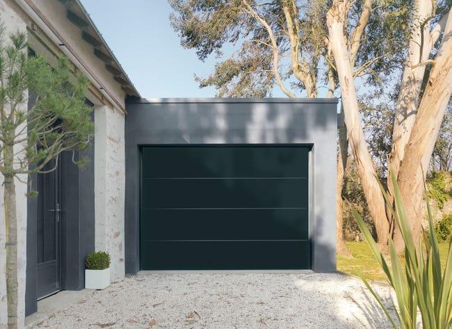 Porte De Garage Sectionnelle Motorisee Artens Premium 212 5x300 Noir Leroy Merlin