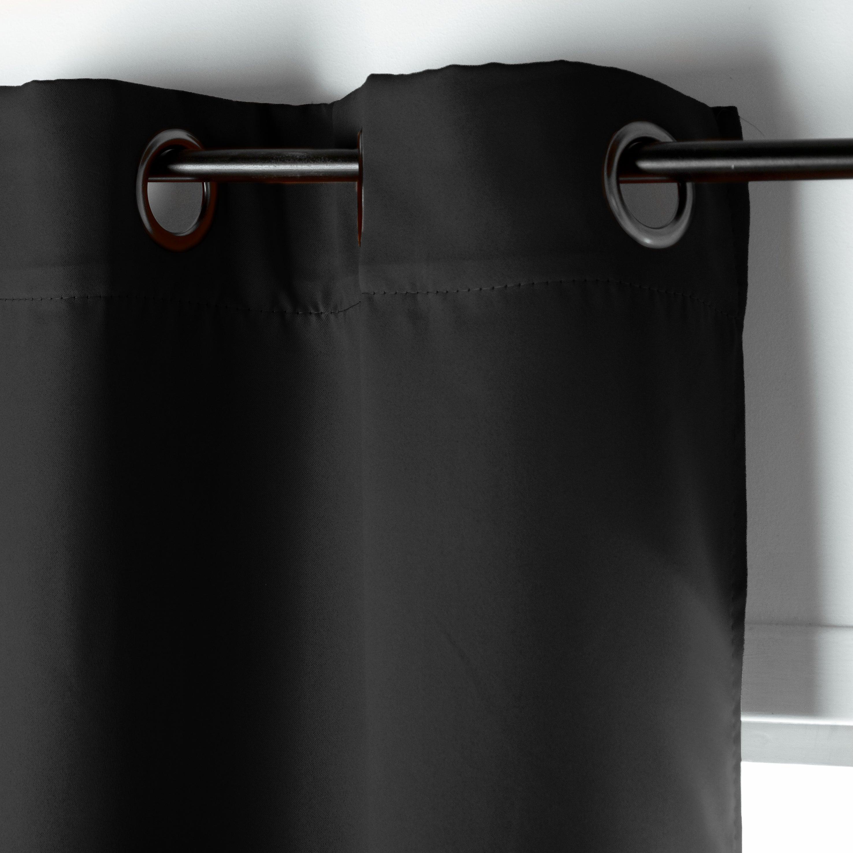rideau occultant oeillets noir l 140 x h 180 cm