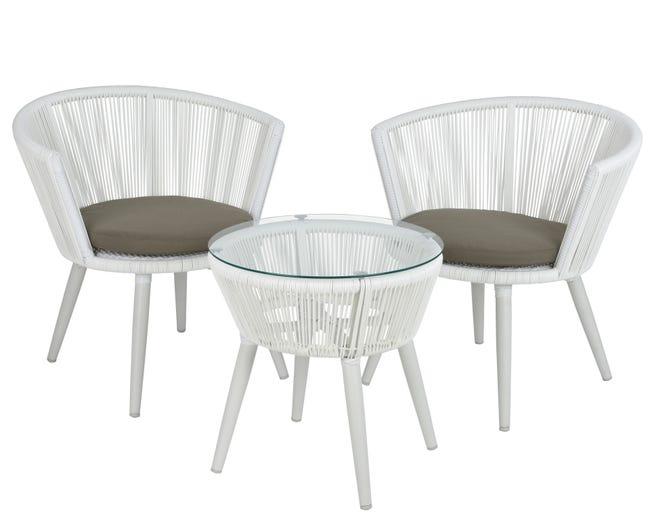 Salon Bas De Jardin Copenhagen Aluminium Blanc 2 Personnes