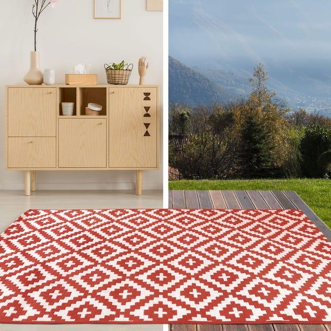 tapis exterieur exterieur rouge rectangulaire l 200 x l 290 cm fara