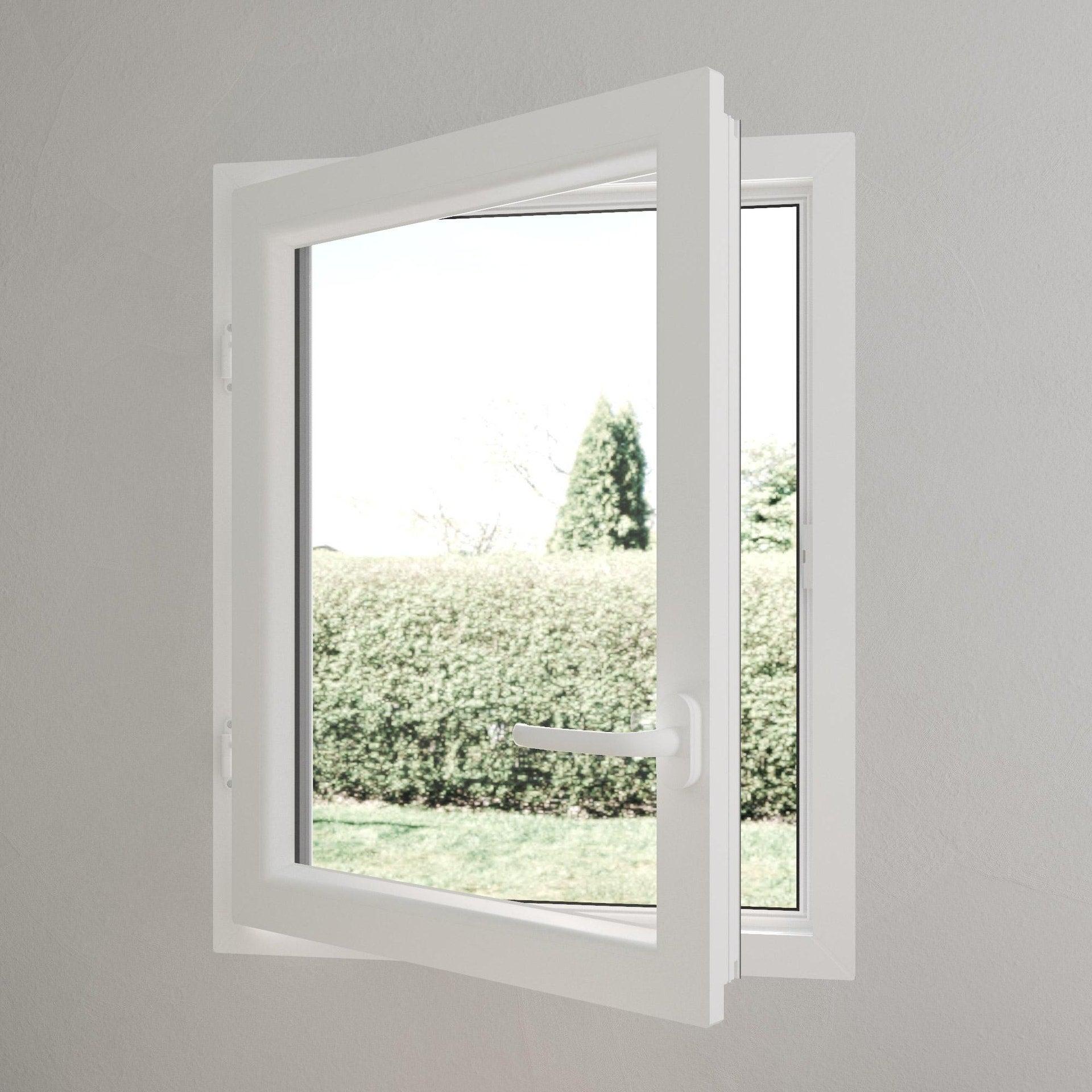 fenêtre pvc h75 x l40 cm gris anthracite  blanc 1