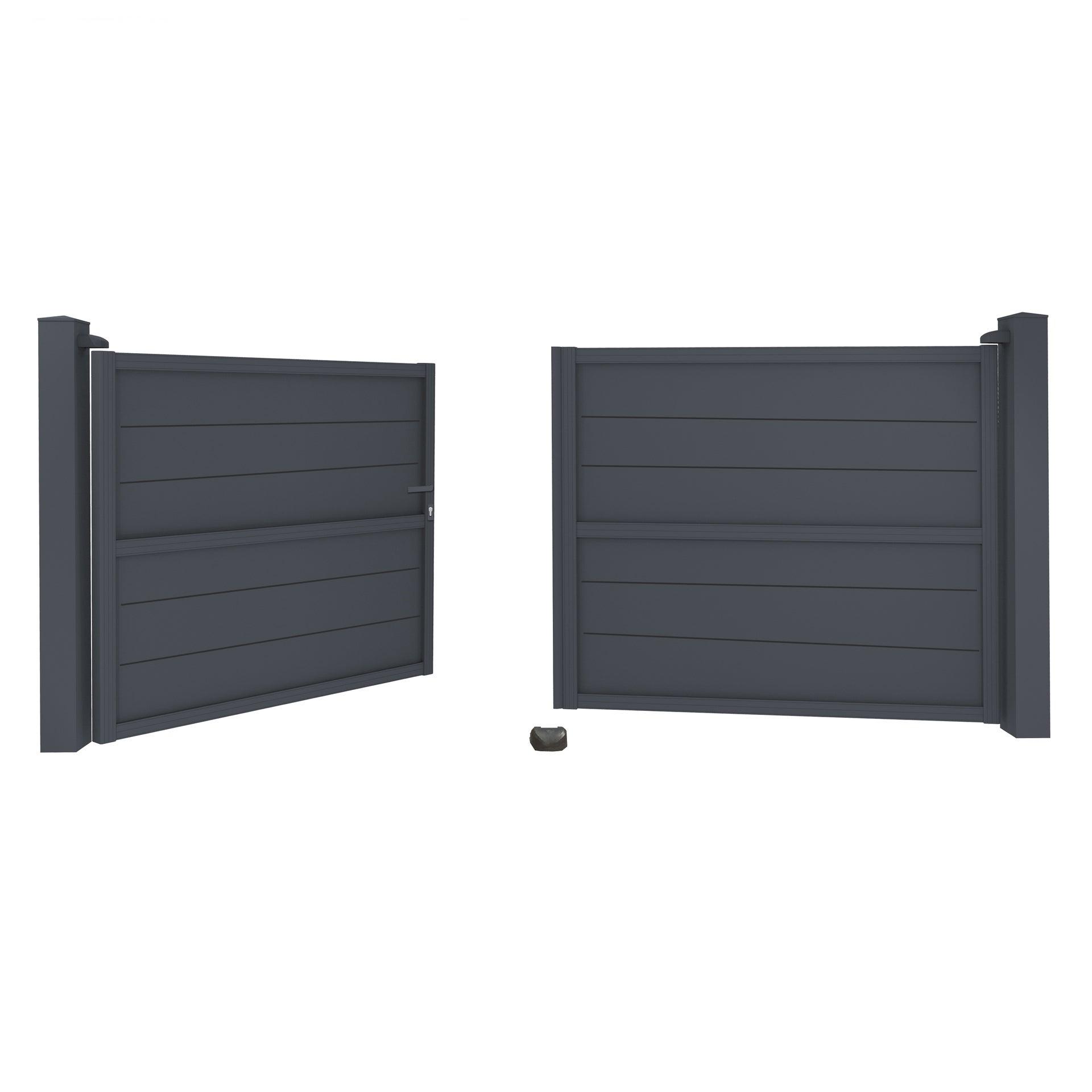 portail battant aluminium gris zinc modulis lames l400 x