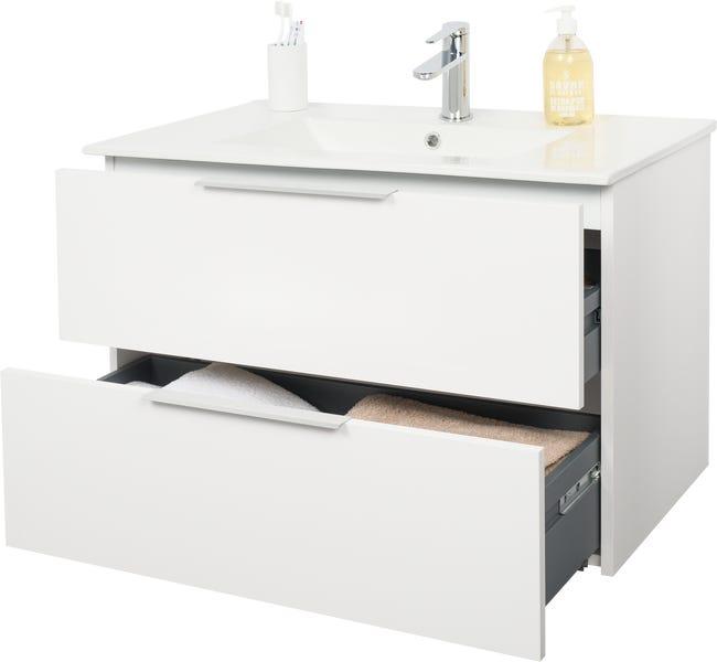 Meuble Sous Vasque 2t L 80 X H 53 X P 45 Cm Blanc Essential Leroy Merlin