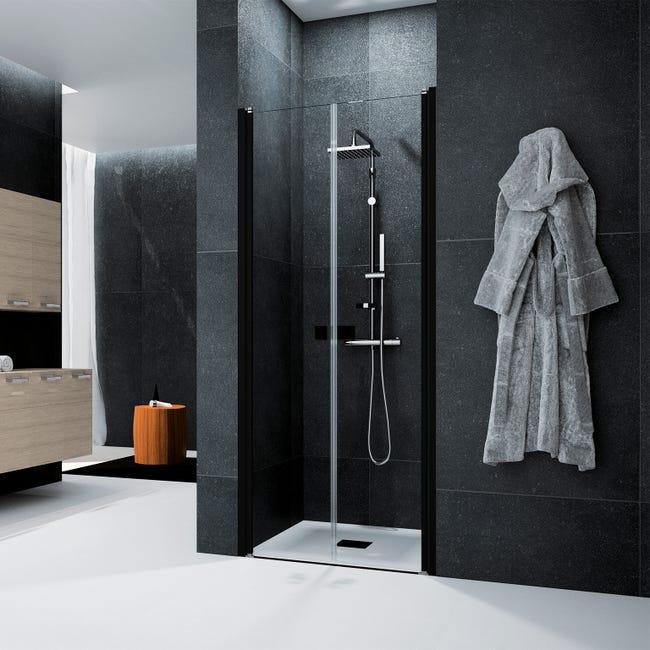 porte de douche battante transparent noir 87 cm glam