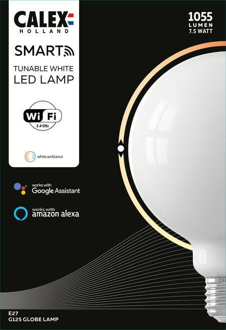 Calex Smart Globe Lamp 125mm E27 - Ampoule connectée LED Opalin 240 lumens