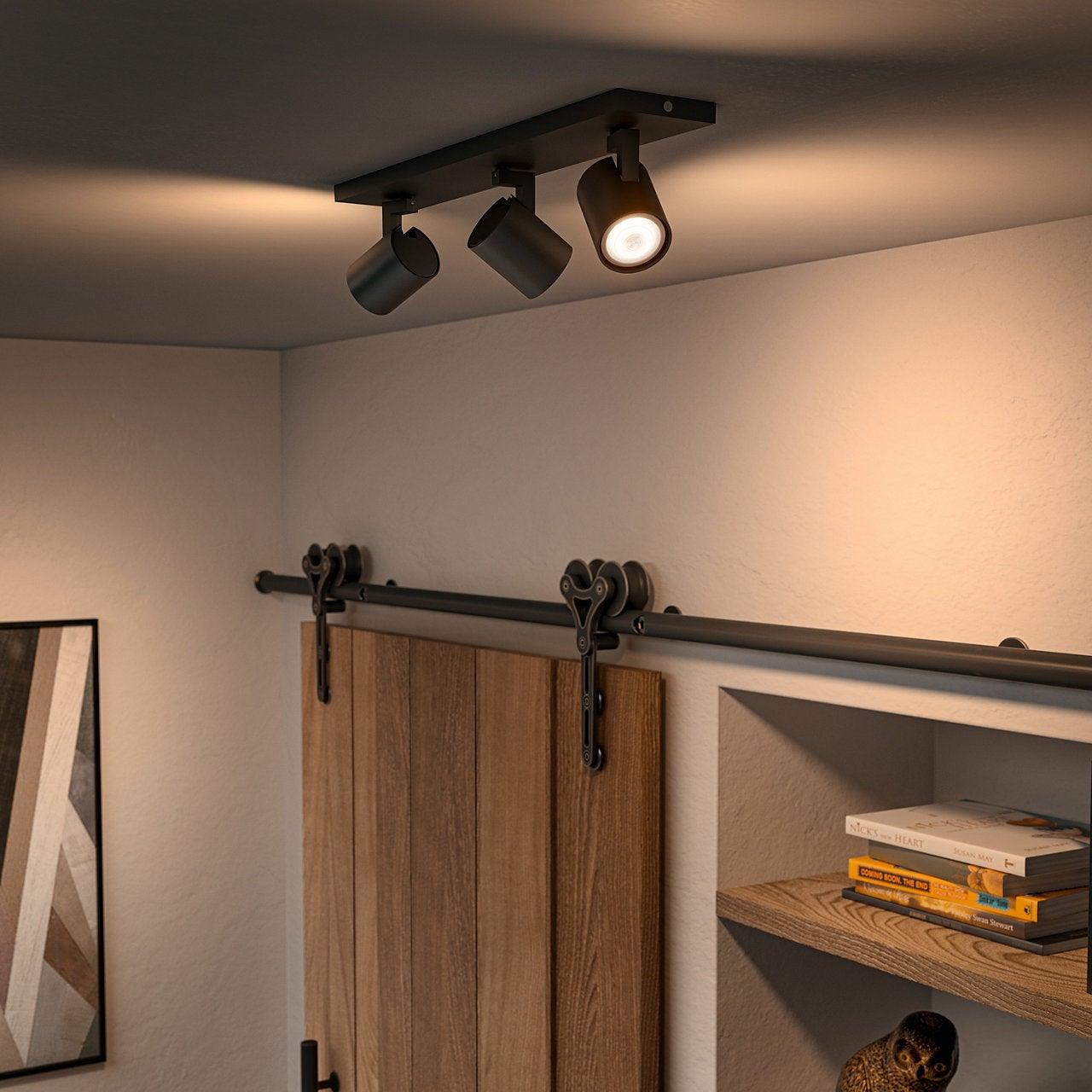 Rampe 3 Spots Gu10 Design Metal Noir Philips Hue Runner Leroy Merlin